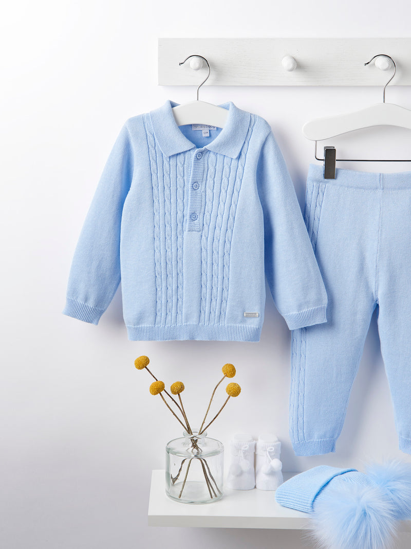 Blues baby cable knit 2 piece set - blue - Rose & Albert