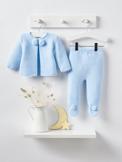 Dandelion pom pom knitted set - blue - Rose & Albert