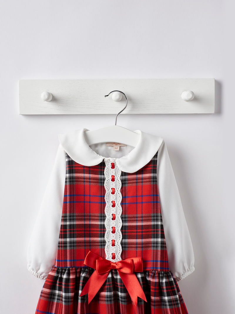 Caramelo kids tartan dress & blouse set - Rose & Albert