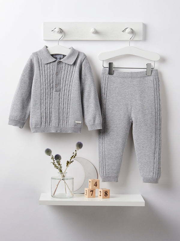 Blues baby cable knit 2 piece set - grey - Rose & Albert