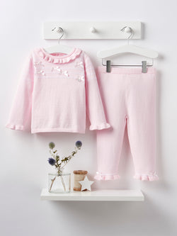 Blues baby bow knitted 2 piece set - Rose & Albert