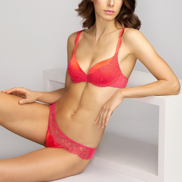 Andres Sarda, Love, padded, plunge, bra, spicy berry, orange, Caroline Randell.