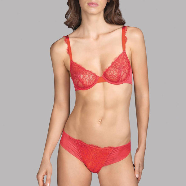 Andres Sarda, Love, bikini brief, spicy berry, orange, front lace, Caroline Randell.