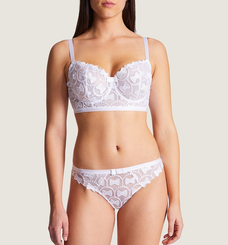Aubade, bow collection, comfort half cup, long lined, underwired bra, Victor & Rolf, bow embroidery, OC14-02, in white, Caroline Randell