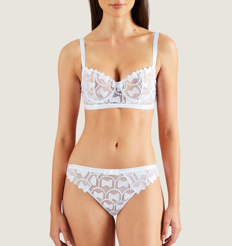 Aubade, bow collection, half cup, long lined, underwired bra, Victor & Rolf, bow embroidery, in white, Caroline Randell