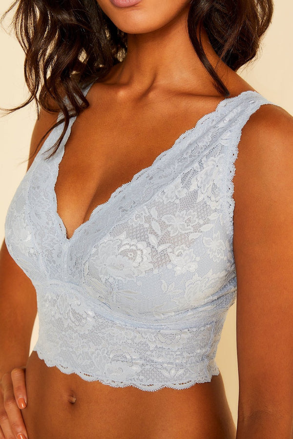 Cosabella longline supportive soft bra non wired and no padded, not sheer lace light blue. Caroline Randell.