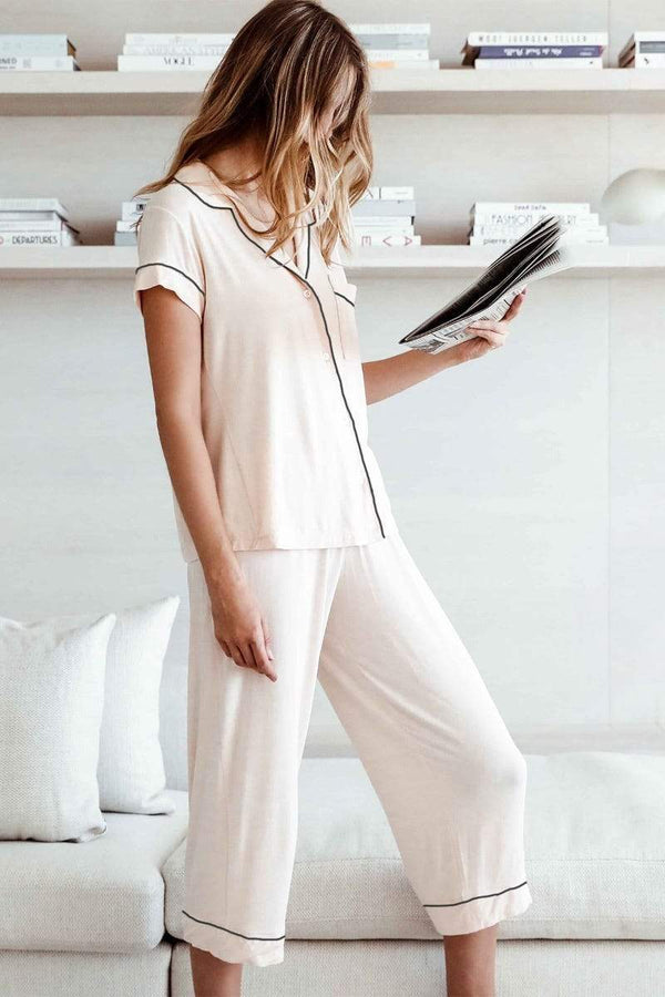 Eberjey, modal short sleeve and cropped pants pyjama set in pink. Caroline Randell.
