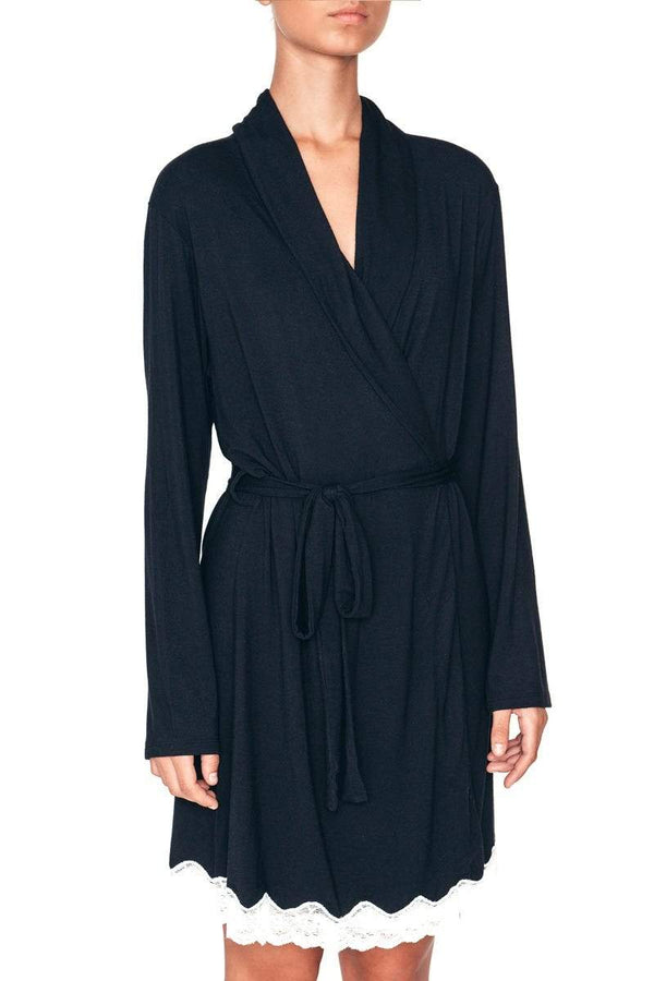 Eberjey short robe black modal with off white lace. Caroline Randell.