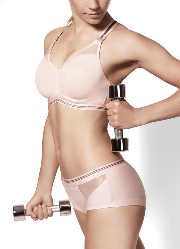 Empreinte, spacer, sports bra, underwired, multi-position, blush, Caroline Randell.