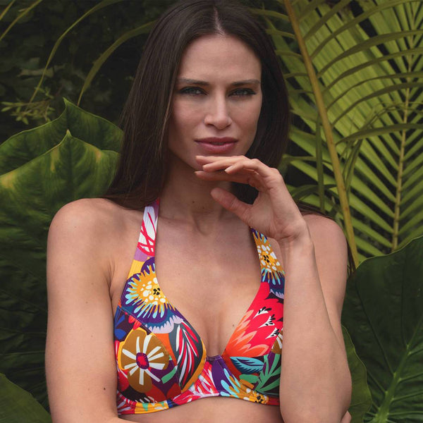 Empreinte swimwear, Sun fire, underwired, supportive, non padded, triangle, bikini top, multicolour, print, 2051KXS, Caroline Randell.