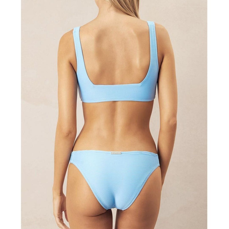 Heidi Klein, Cairns, underwired, bikini top, crop top, lace up, ribbed, light blue, Caroline Randell.