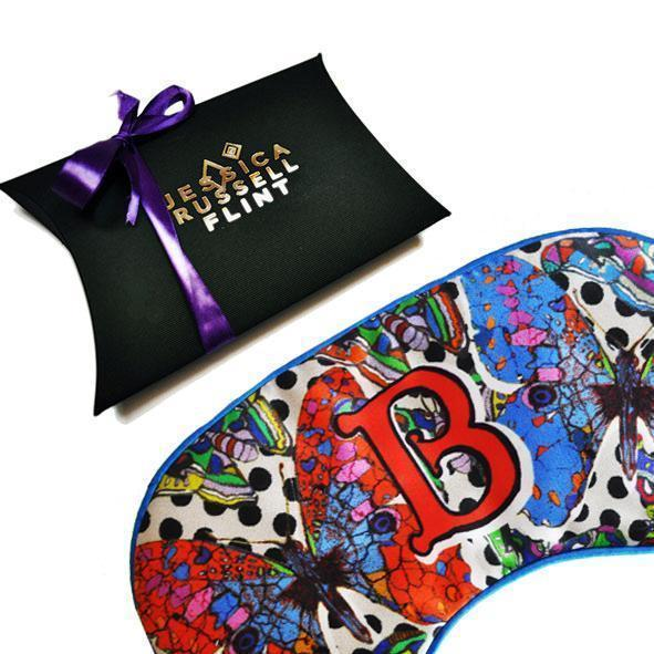 Jessica Russell Flint silk eye mask printed with butterfly. Caroline Randell.
