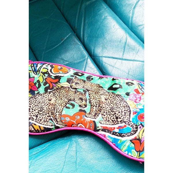 Jessica Russell Flint silk printed eye mask with leopards. Caroline Randell.