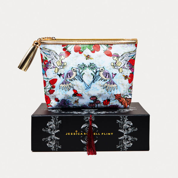 Jessica Russell Flint Strawberry Garden vegan make up bag. Caroline Randell.