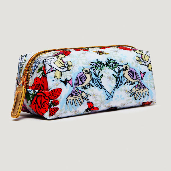 Jessica Russell Flint vegan mini make up bag with strawberry print. Caroline Randell.