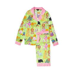 Fashion Dogs Long Cotton PJ Set in Green