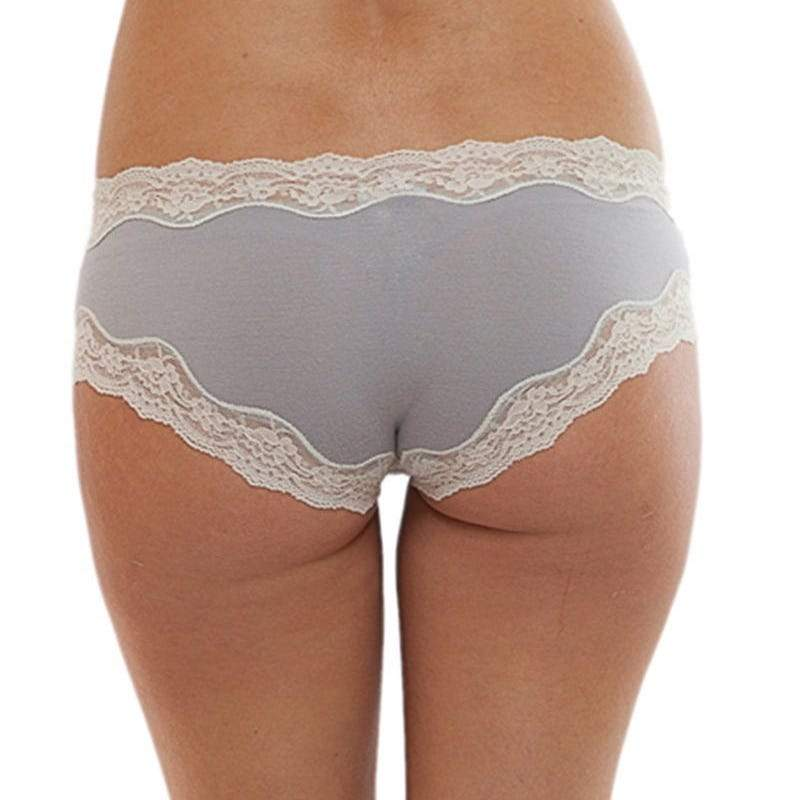 Eberjey, Lady Godiva elegant brief, modal brief, grey with off white lace. Caroline Randell.