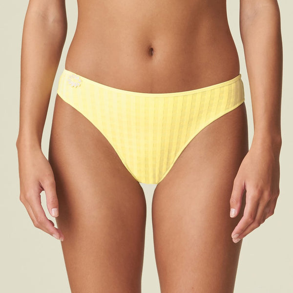 Marie Jo Avero rio brief in a faded checked fabric in Pineapple Yellow. A daisy flower detail at the front on one side, Caroline Randell.