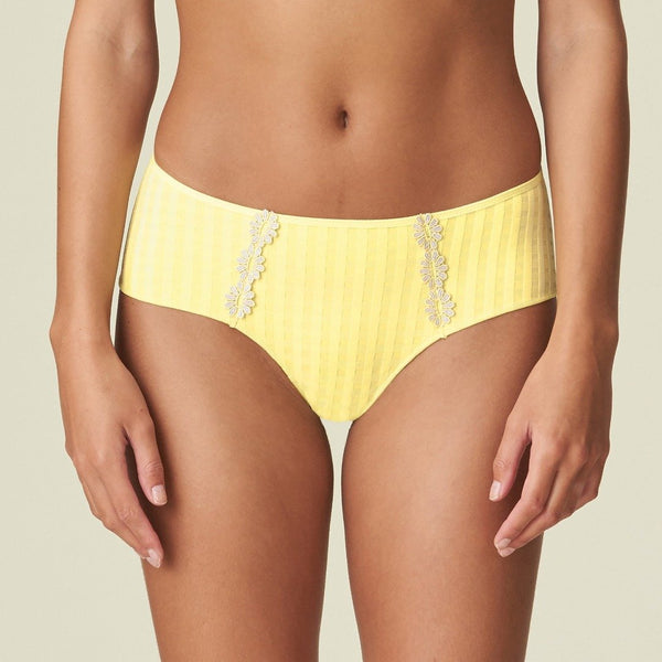 Marie Jo's Avero shorty, hotpant knicker in pineapple yellow. Checked fabric with daisy detailing at the front on either side at Caroline Randell.