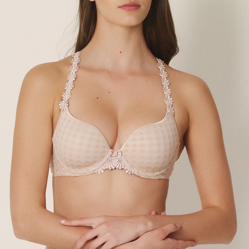 Marie Jo Avero multi way underwired sweet heart bra. Daisy straps with a faded checked fabric and a plunge neckline. Colour Caffe latte which is nude/ beige, Caroline Randell.