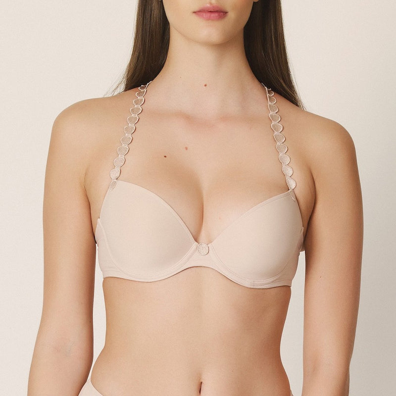 Marie Jo, Tom, caffe' latte, skin, smooth cup, plunge, t shirt bra, padded bra, multiway, with circles on the straps.