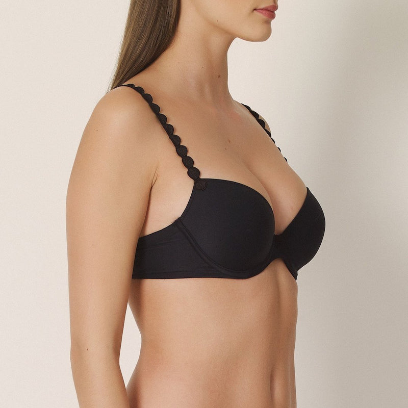 Marie Jo, Tom, charcoal, black, smooth cup, plunge, t shirt bra, padded bra, multiway, with circles on the straps, Caroline Randell.