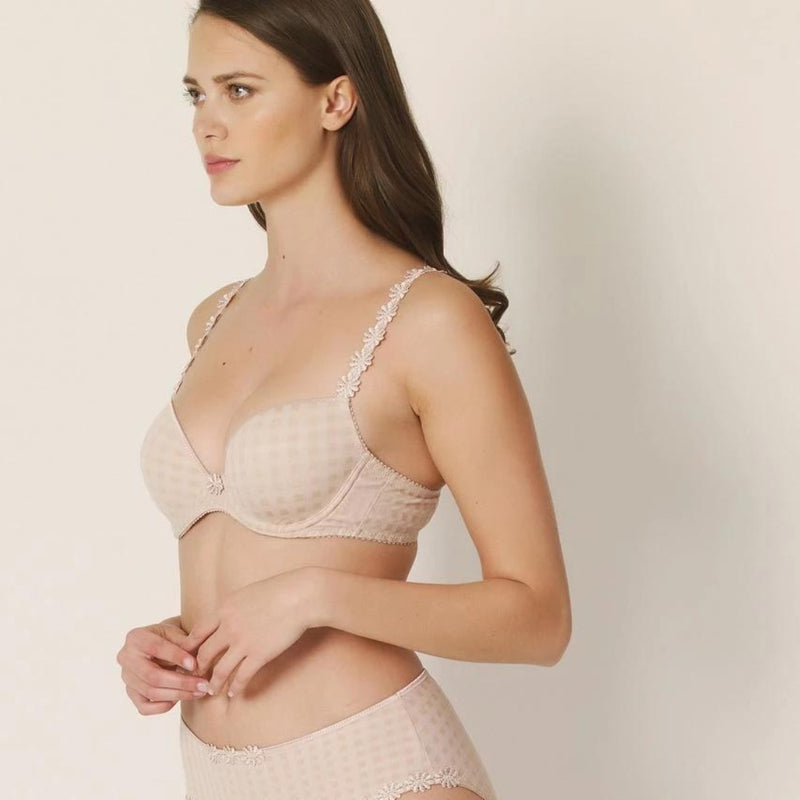 Marie Jo, padded round shape t shirt bra in caffe latte, nude, skin, with daisies straps and checked texture, Caroline Randell.