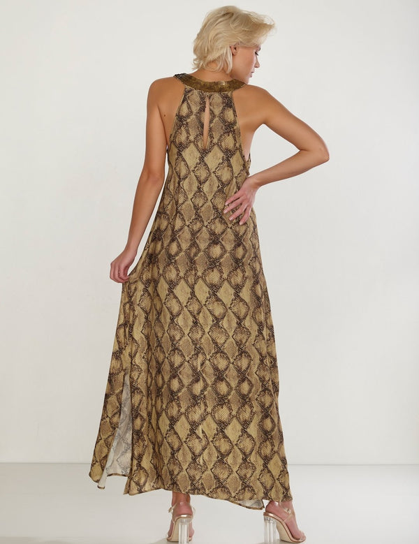 Maryan Mehlhorn Instinct long, snake printed, dress with decoration on the neckline. Caroline Randell.