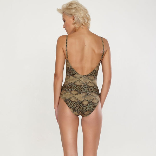 Maryan Mehlhorn Instinct padded swimsuit with snake print. Caroline Randell.