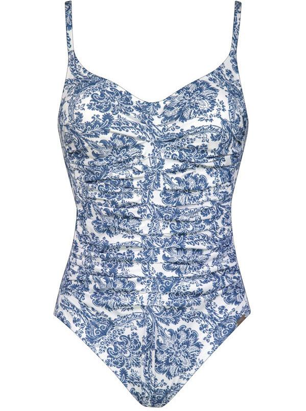 Maryan Mehlhorn, Porcelain, Underwired Swimsuit, 4314, 903, 905, white tea tile, SS21, caroline randell, ruched swimsuit, blue print, fashion, swimwear,