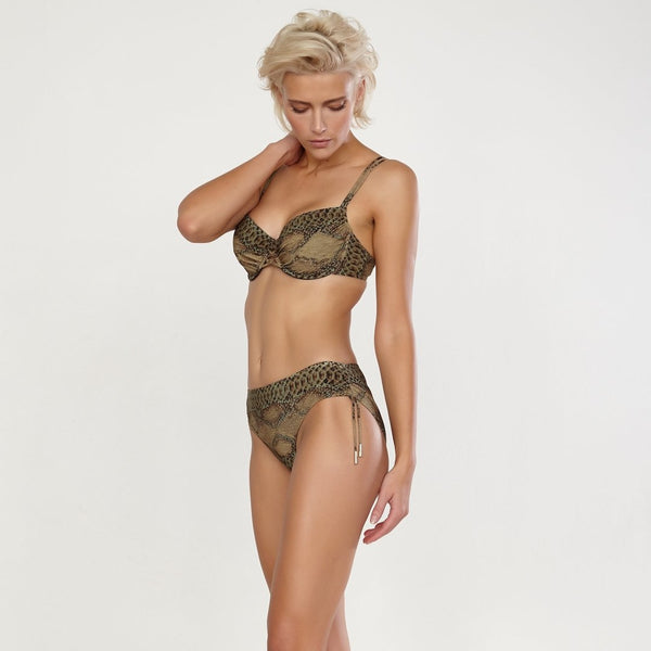Maryan Mehlhorn Instinct snake print adjustable bikini bottom. Caroline Randell.