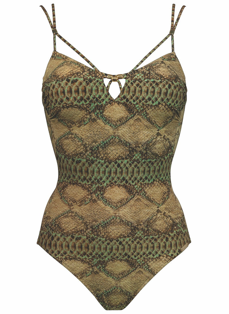 Maryan Mehlhorn Insinct underwired swimsuit with snake print. Caroline Randell.