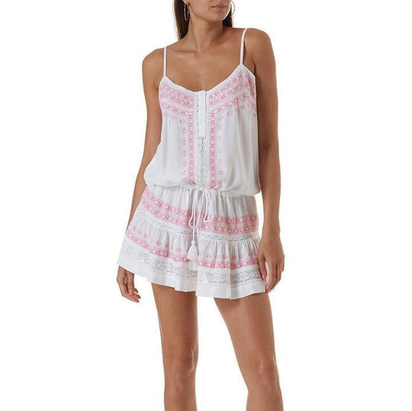 Melissa Odabash Karen white beach dress with pink embroidery, spaghetti straps and drawstring waist. Caroline Randell.