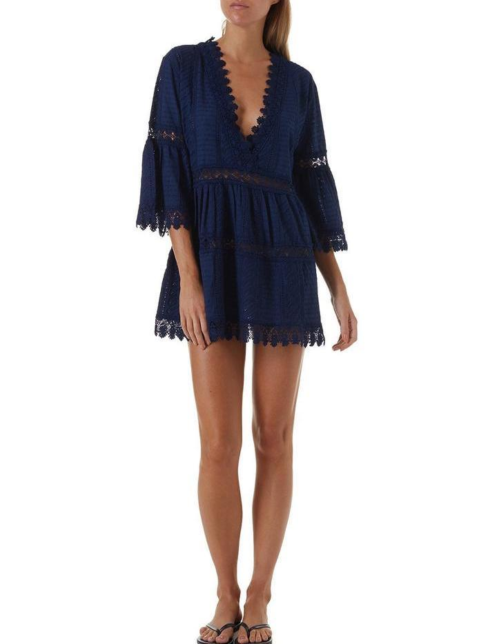 Melissa Odabash, Victoria, short, beach, dress, cover up, lace, bell sleeve, navy, Caroline Randell.