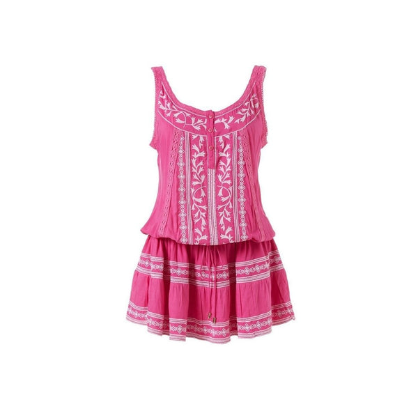 Jaz Embroidered Drawstring Dress in Flamingo