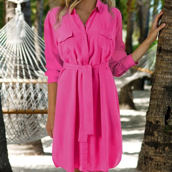 Veronica Belted Shirt Dress in Flamingo