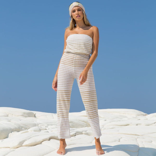 Ruth Erotokritou, white and gold, knitted, bandeau, jumpsuit, Caroline Randell.