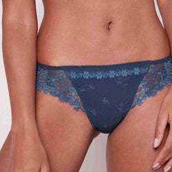 Simone Perele, Whish thong, tanga, side lace panels, blue, teal, petrol blue, Caroline Randell.
