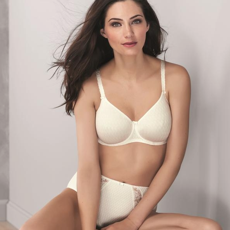 Anita, Rosa Faia, Charlize, smooth, seamless, check print, tshirt, underwired, simple, ivory, natural, bra, with floral strap detail, Caroline Randell