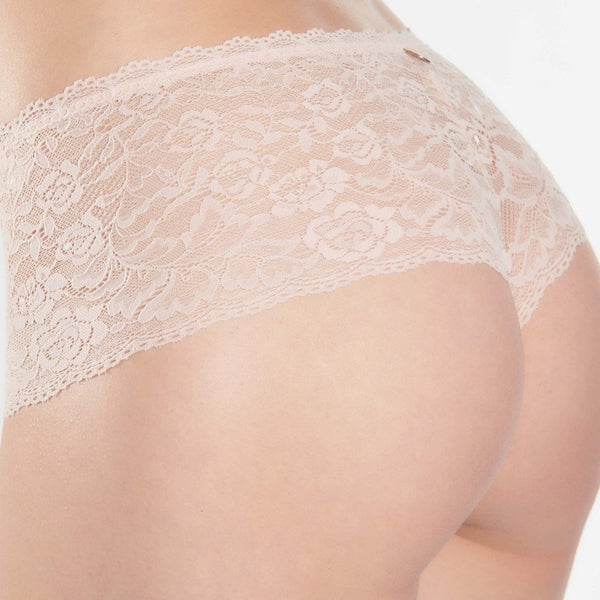 Aubade, Rosessence, soft, lace, seamless, lace, shorty, hotpant, knicker, in blush.