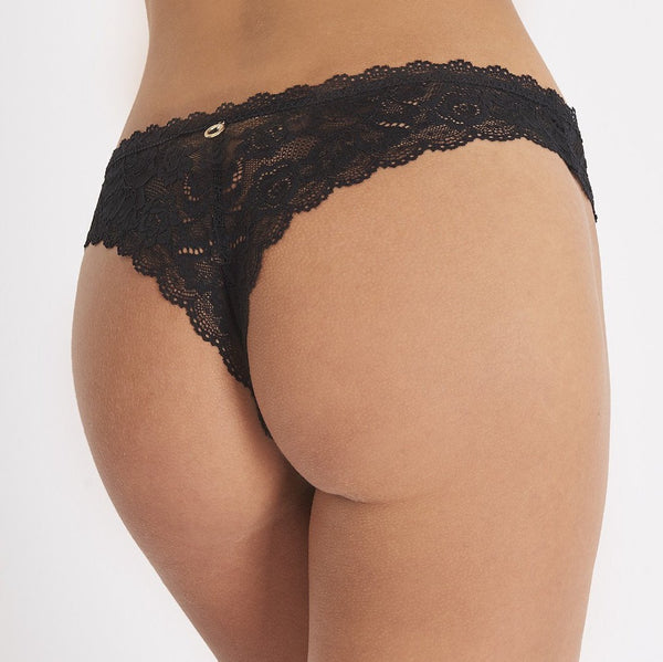 Aubade, Rosessence, thong, seamless, lacey, tanga, in black.