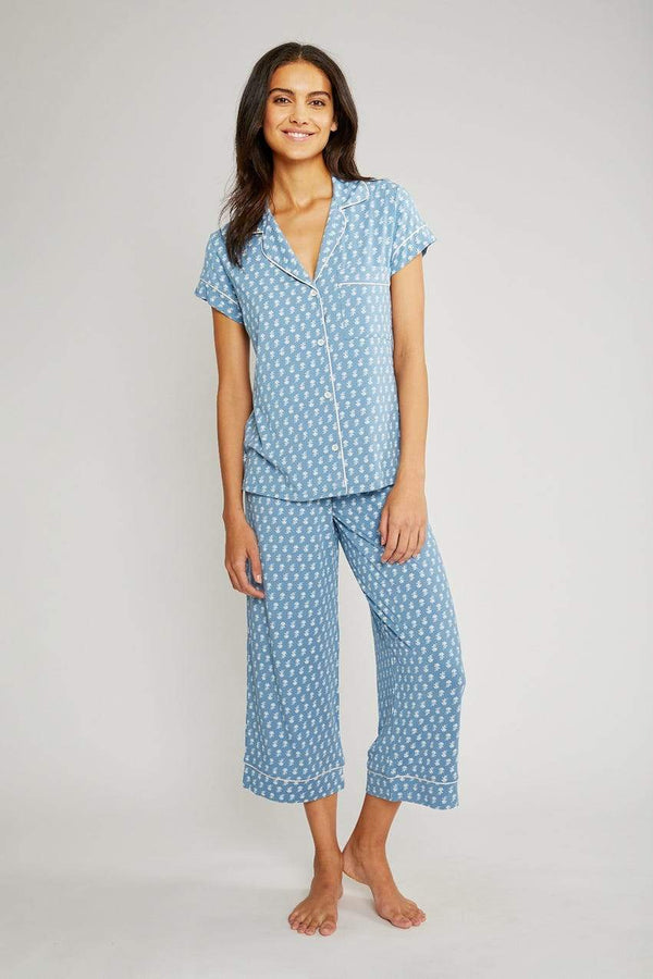 Eberjey jersey printed pyjama set short sleeves and cropped pants blue printed. Caroline Randell.