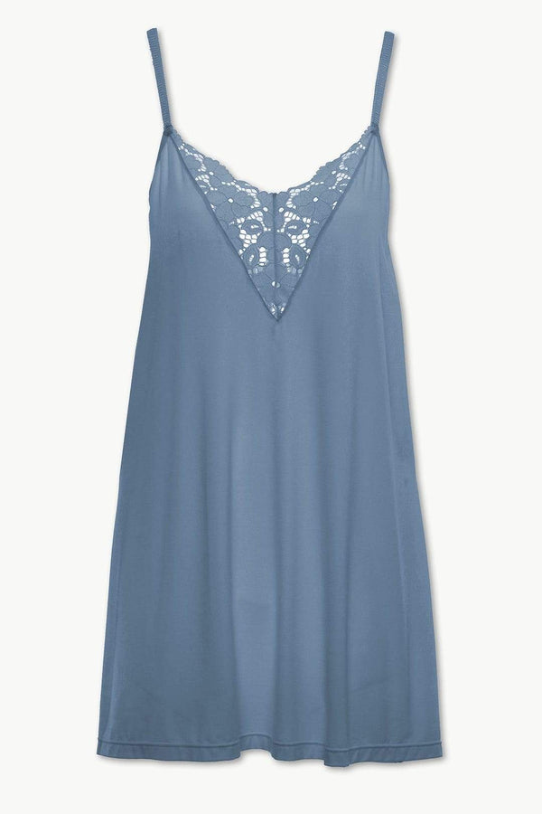 Eberjey jersey chemise light blue with lace inset. Caroline Randell.