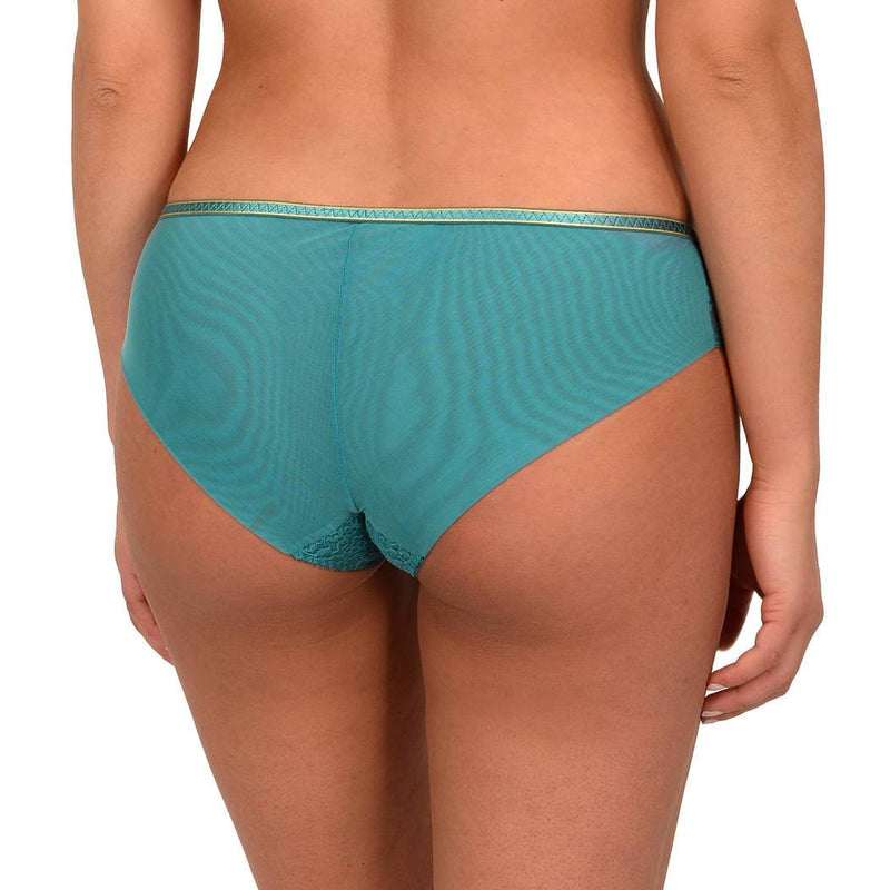 Empreinte Allure Shorty in jade with gold detail around the waist. Made with wider soft lace design at the front and tulle back with elasticated fitted band between the buttocks.