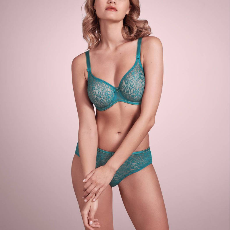 Empreinte Allure seamless flat lace bra in jade with gold detail straps and under band.