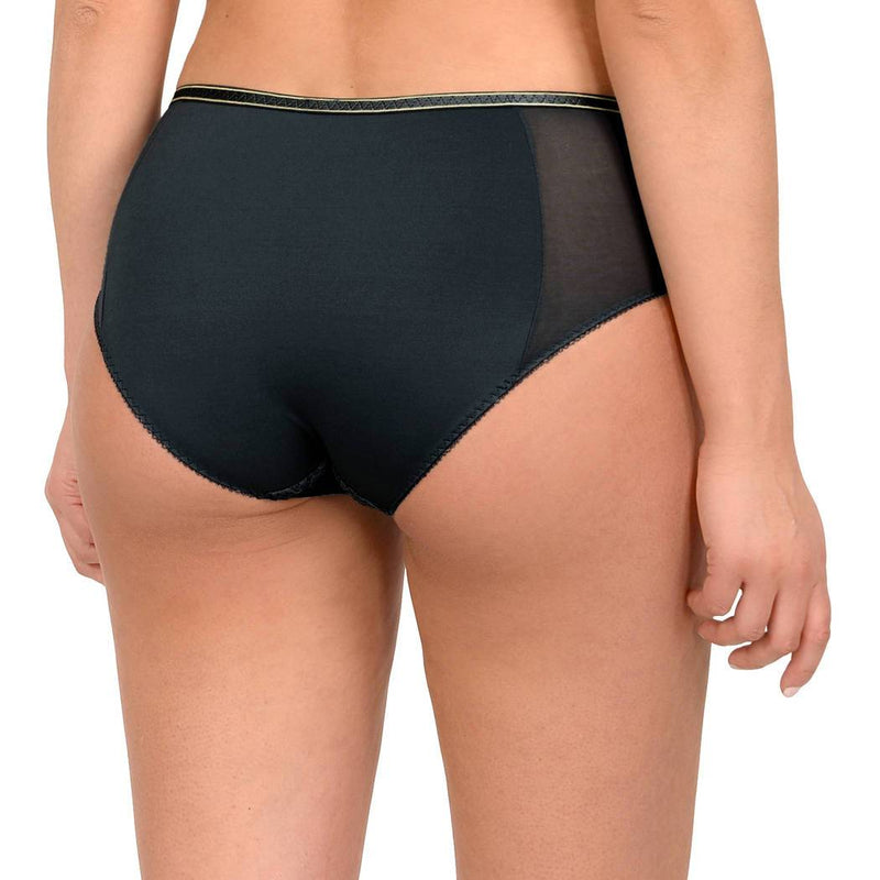 Empreinte Allure Panty in black with gold detail. The panty has an elasticated edge around the bottom, making it nice and secure.