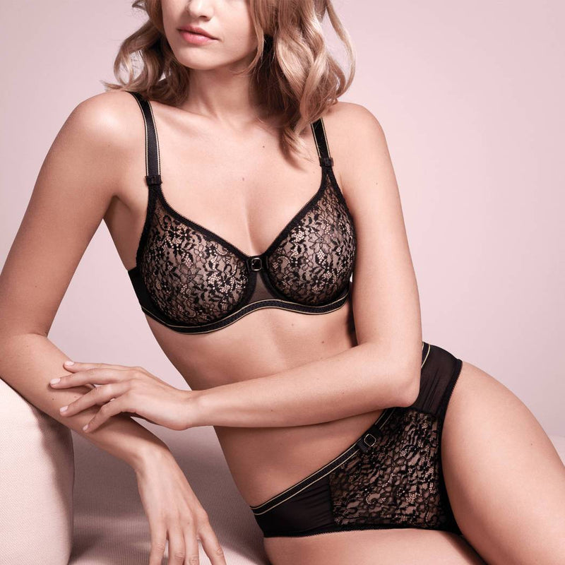 Empreinte Allure seamless flat lace bra in Black with gold detail straps and under band.