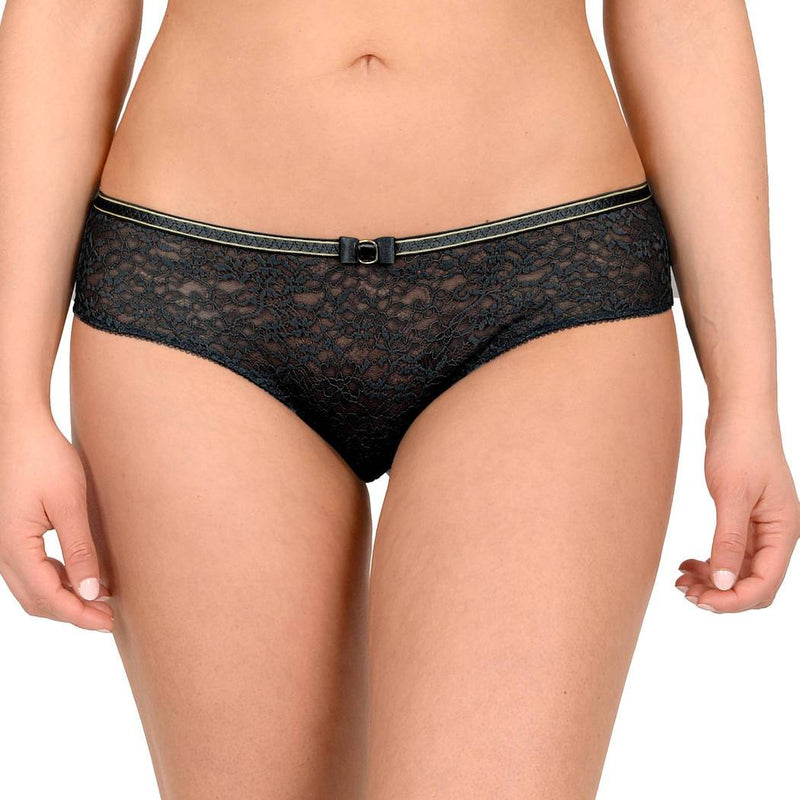 Empreinte Allure Shorty in black with gold detail around the waist. Made with wider soft lace design at the front and tulle back with elasticated fitted band between the buttocks.