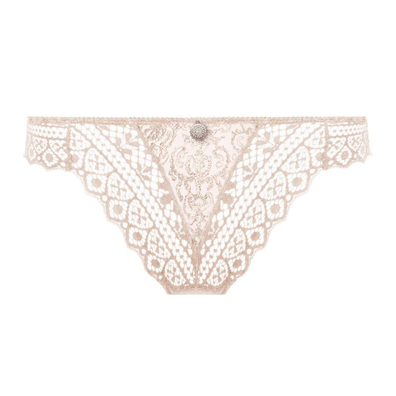 Empreinte Cassiopee Lacey Thong  in opaline colour with gold thread detail.