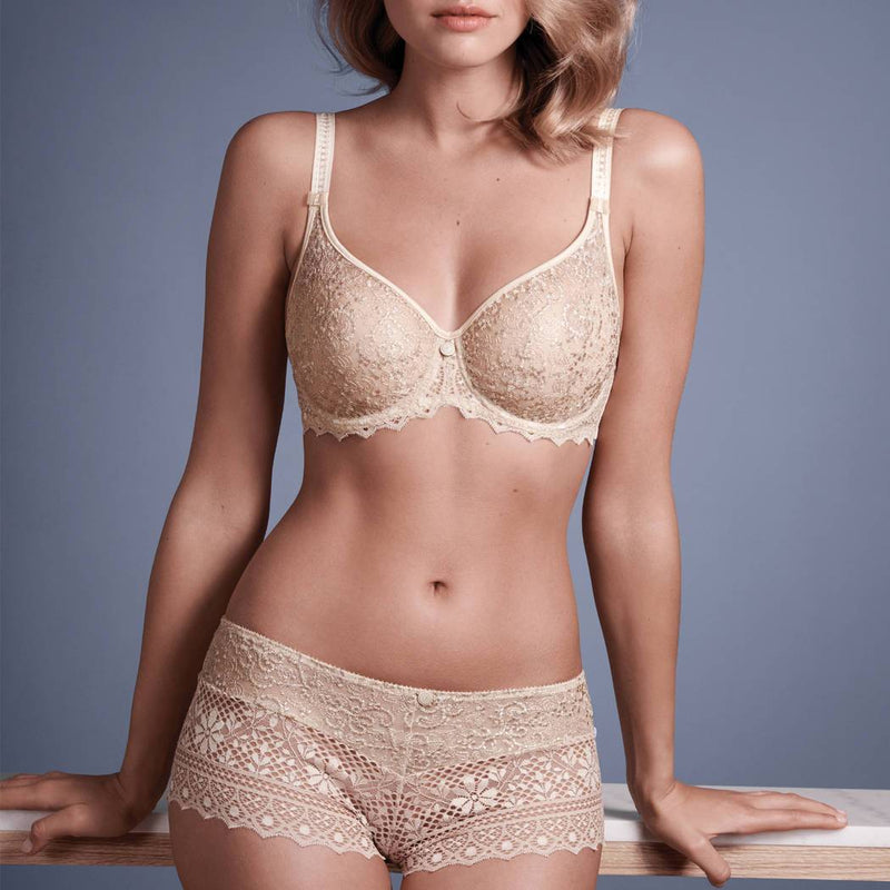 Empreinte Cassiopee Seamless Lace Bra in opaline colour with gold thread detail and lightly detailed straps.